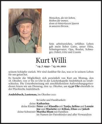 Todesanzeige von Kurt Willi von Vorarlberger Nachrichten