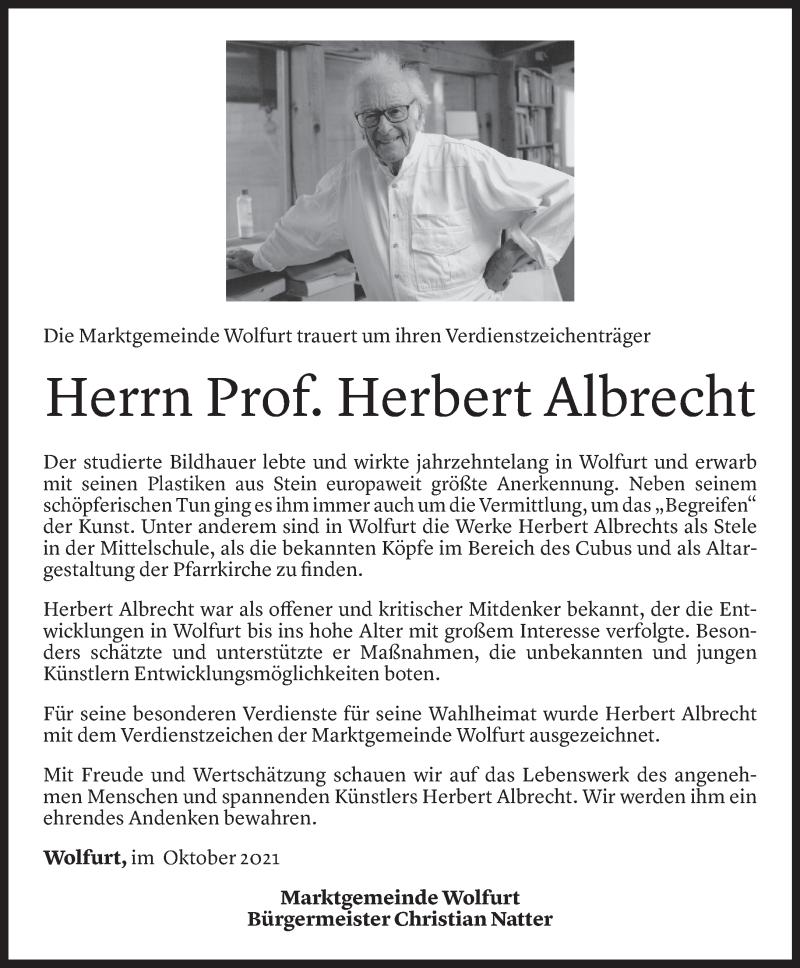 Todesanzeige für Herbert Albrecht vom 12.10.2021 aus Vorarlberger Nachrichten