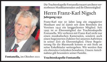 Todesanzeige von Franz-Karl Nigsch von Vorarlberger Nachrichten