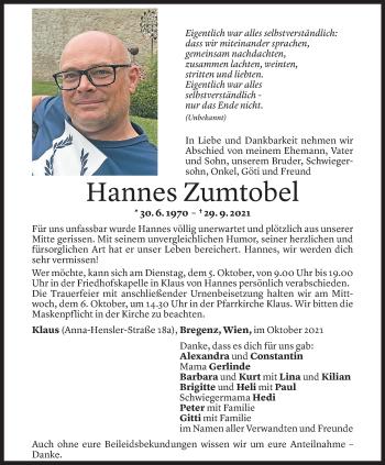 Todesanzeige von Hannes Zumtobel von Vorarlberger Nachrichten