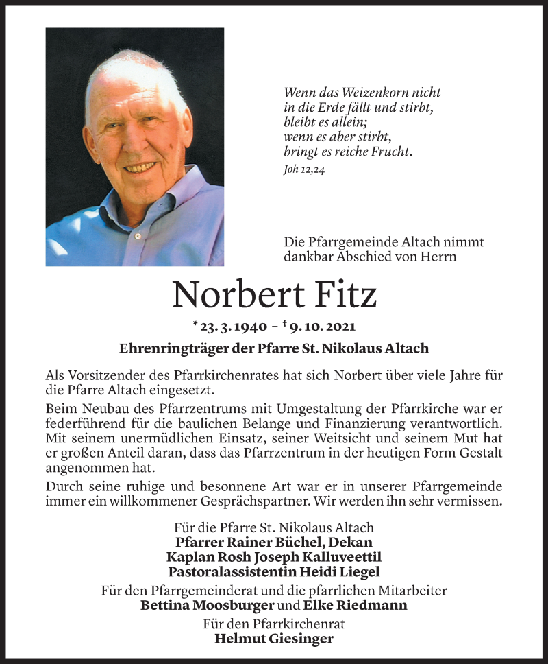 Todesanzeige für Norbert Fitz vom 14.10.2021 aus Vorarlberger Nachrichten