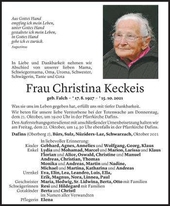 Todesanzeige von Christina Keckeis von Vorarlberger Nachrichten