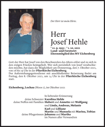 Todesanzeige von Josef Hehle von Vorarlberger Nachrichten