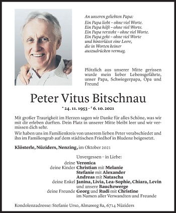 Todesanzeige von Peter Vitus Bitschnau von Vorarlberger Nachrichten