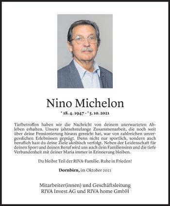 Todesanzeige von Johann Michelon von Vorarlberger Nachrichten