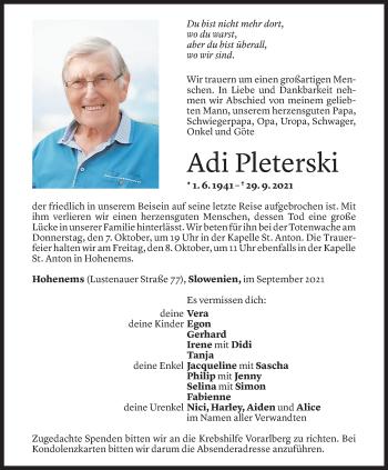 Todesanzeige von Adolf Pleterski von Vorarlberger Nachrichten