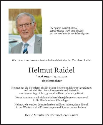 Todesanzeige von Helmut Raidel von vorarlberger nachrichten