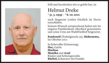 Todesanzeige von Helmut Dreke von Vorarlberger Nachrichten