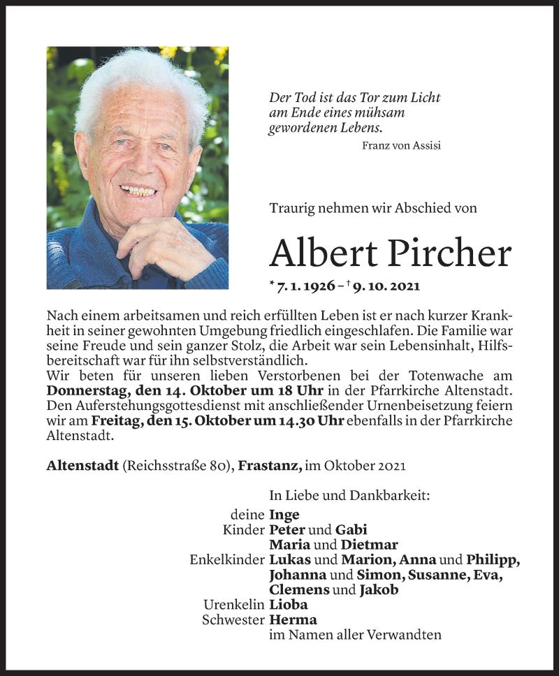 Todesanzeige für Albert Pircher vom 12.10.2021 aus Vorarlberger Nachrichten