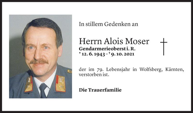Todesanzeige für Alois Moser vom 13.10.2021 aus Vorarlberger Nachrichten