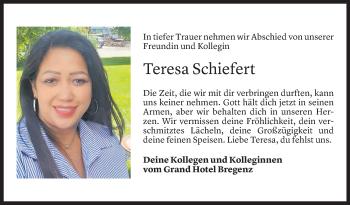 Todesanzeige von Teresa Schiefert von Vorarlberger Nachrichten