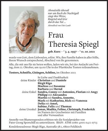 Todesanzeige von Theresia Spiegl von Vorarlberger Nachrichten