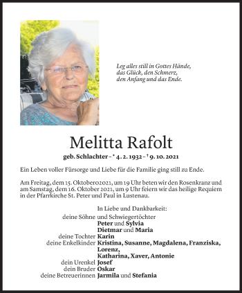 Todesanzeige von Melitta Rafolt von Vorarlberger Nachrichten