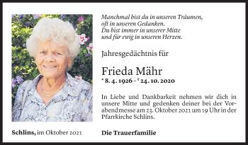 Todesanzeige von Frieda Mähr von Vorarlberger Nachrichten