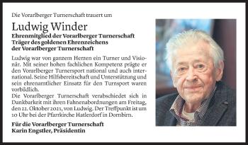 Todesanzeige von Ludwig Winder von Vorarlberger Nachrichten