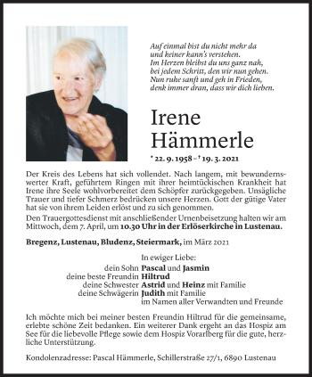 Todesanzeige von Irene Hämmerle von Vorarlberger Nachrichten
