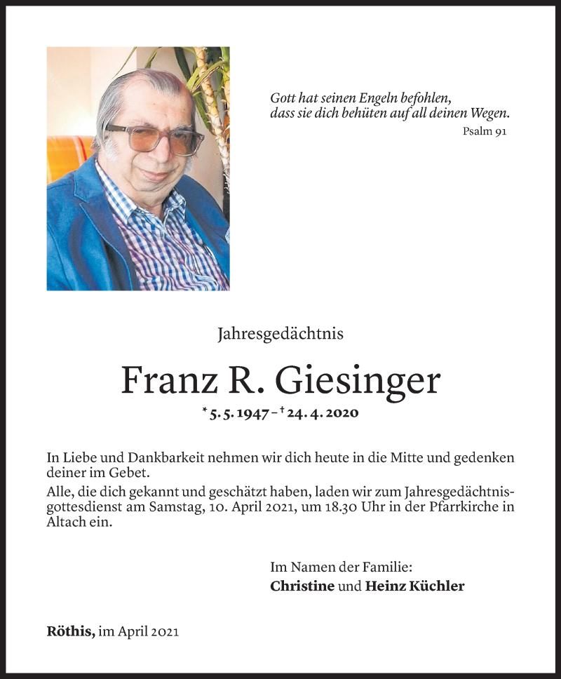 Todesanzeige für Franz Rudolf Giesinger vom 05.04.2021 aus Vorarlberger Nachrichten