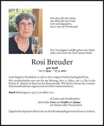 Todesanzeige von Rosi Breuder von Vorarlberger Nachrichten