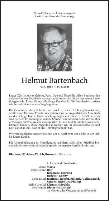 Todesanzeige von Helmut Bartenbach von Vorarlberger Nachrichten