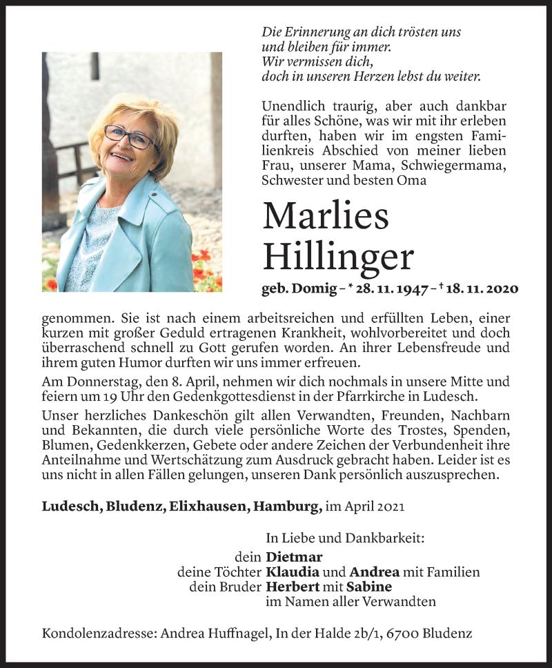 Todesanzeige für Marlies Hillinger vom 03.04.2021 aus Vorarlberger Nachrichten