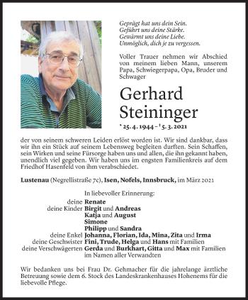 Todesanzeige von Gerhard Steininger von Vorarlberger Nachrichten