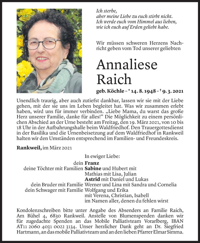 Todesanzeige für Annaliese Raich vom 16.03.2021 aus Vorarlberger Nachrichten