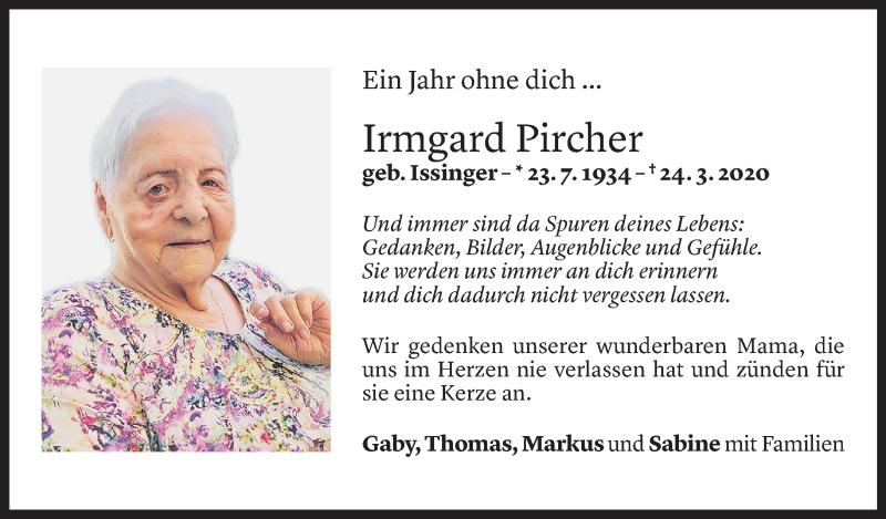 Todesanzeige für Irmgard Pircher vom 24.03.2021 aus Vorarlberger Nachrichten