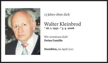 Todesanzeige von Walter Kleinbrod von Vorarlberger Nachrichten