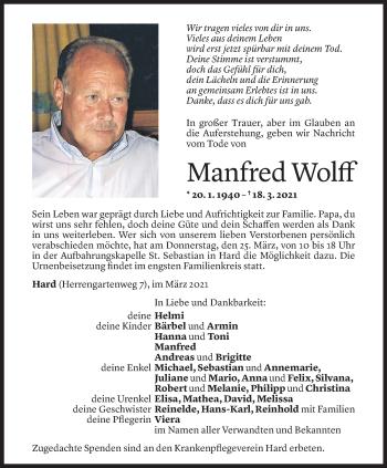 Todesanzeige von Manfred Wolff von Vorarlberger Nachrichten