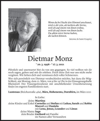 Todesanzeige von Dietmar Monz von Vorarlberger Nachrichten