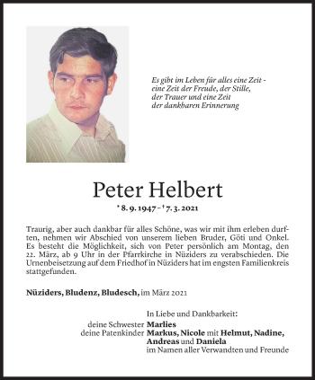 Todesanzeige von Peter Helbert von Vorarlberger Nachrichten