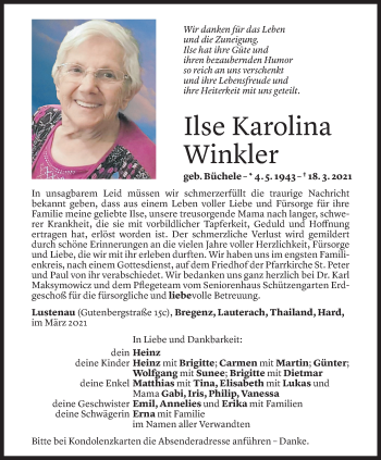 Todesanzeige von Ilse Karolina Winkler von Vorarlberger Nachrichten