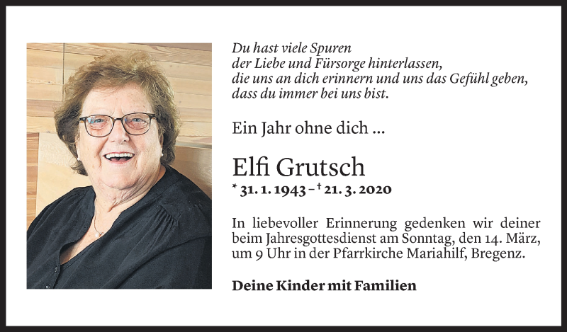 Todesanzeige für Elfi Grutsch vom 11.03.2021 aus Vorarlberger Nachrichten