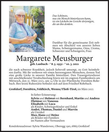 Todesanzeige von Margarete Meusburger von Vorarlberger Nachrichten