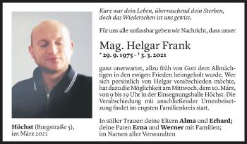 Todesanzeige von Helgar Frank von Vorarlberger Nachrichten