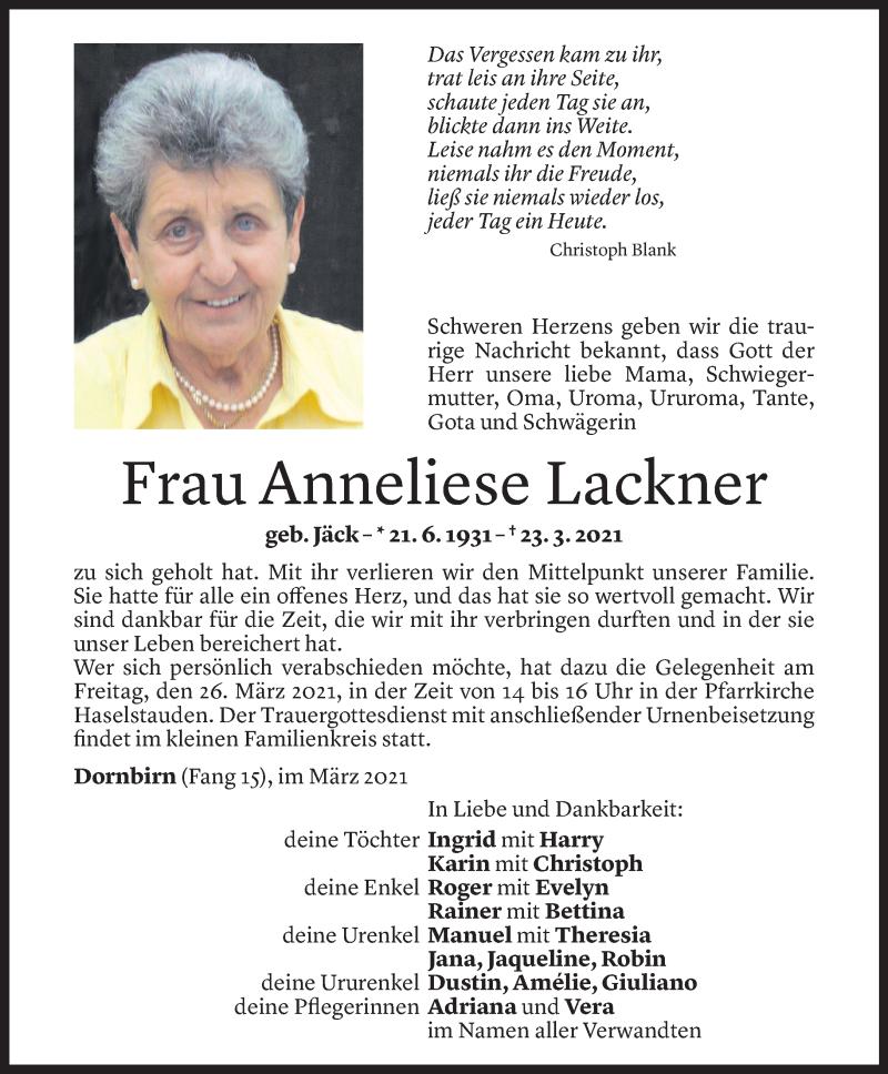 Todesanzeige für Anneliese Lackner vom 25.03.2021 aus Vorarlberger Nachrichten