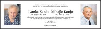 Todesanzeige von Ivanka und Mihajlo Kanjo von Vorarlberger Nachrichten