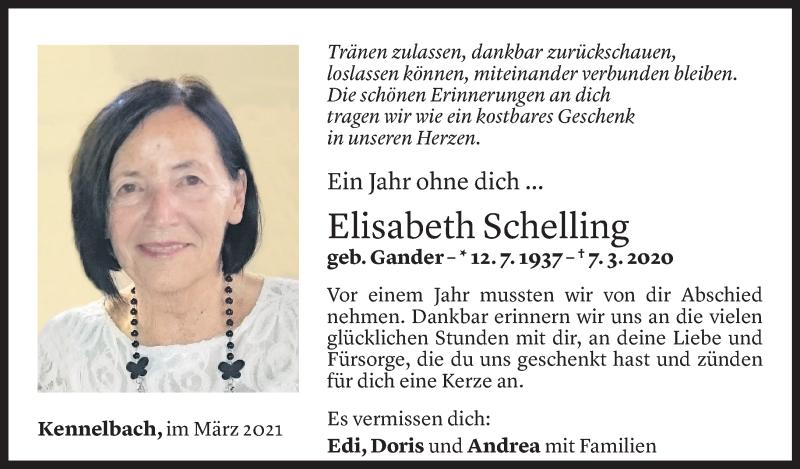 Todesanzeige für Elisabeth Schelling vom 05.03.2021 aus Vorarlberger Nachrichten