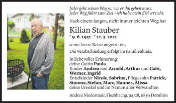 Todesanzeige von Kilian Stauber von Vorarlberger Nachrichten
