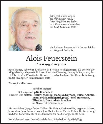 Todesanzeige von Alois Feuerstein von Vorarlberger Nachrichten