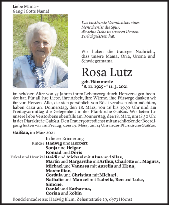 Todesanzeige von Rosa Lutz von Vorarlberger Nachrichten