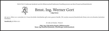 Todesanzeige von Werner Gort von Vorarlberger Nachrichten