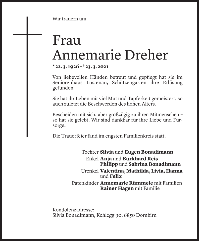 Todesanzeige für Annemarie Dreher vom 02.04.2021 aus Vorarlberger Nachrichten