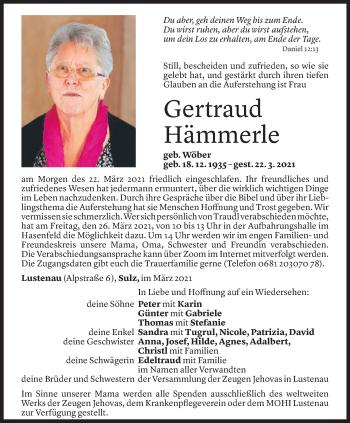 Todesanzeige von Gertraud Hämmerle von Vorarlberger Nachrichten