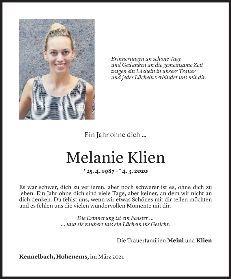 Todesanzeige für Melanie Klien vom 03.03.2021 aus Vorarlberger Nachrichten