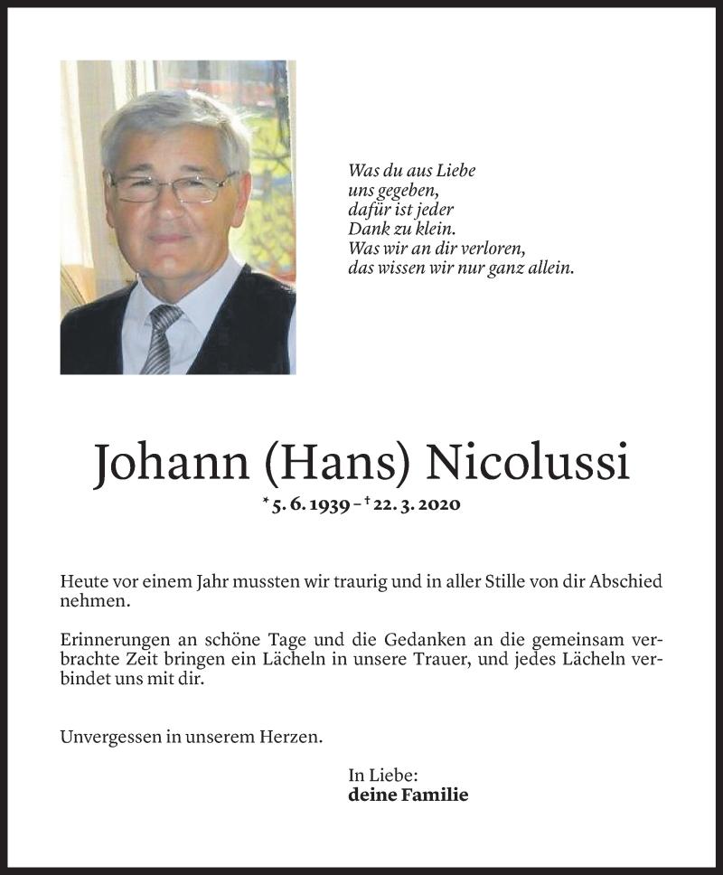 Todesanzeige für Johann Nicolussi vom 21.03.2021 aus Vorarlberger Nachrichten
