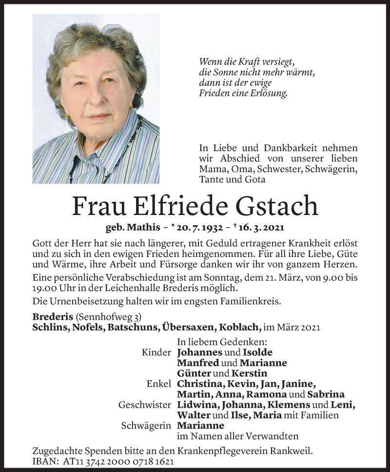 Todesanzeige für Elfriede Gstach vom 20.03.2021 aus Vorarlberger Nachrichten