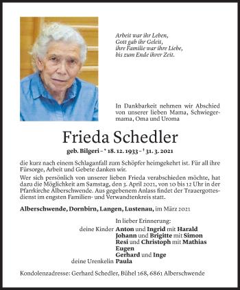 Todesanzeige von Frieda Schedler von Vorarlberger Nachrichten