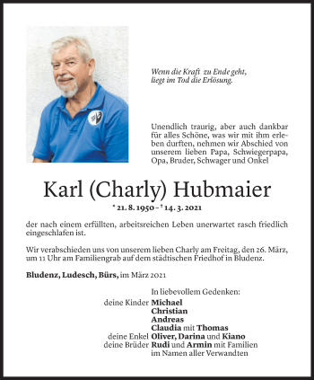 Todesanzeige von Karl Hubmaier von Vorarlberger Nachrichten