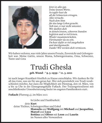 Todesanzeige von Trudi Ghesla von Vorarlberger Nachrichten